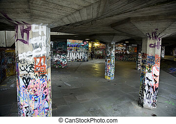 Urban Underground with Graffiti along London Streets
