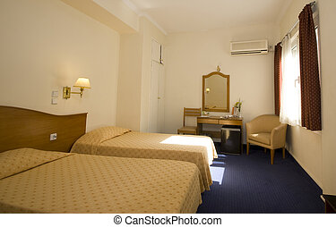 hotel room athens - typical mid-price budget hotel room in...