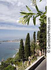 taormina italy - view from taormina italy sicily above...