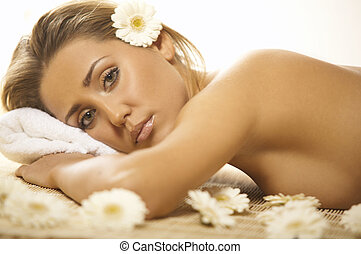 Spa Relaxing - Portrait of Fresh and Beautiful blond woman...