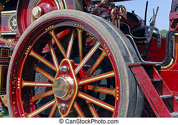 Steam Traction Wheel - Close up details of a steam engine...