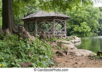 Riverside Gazebo - A rustic, by design, gazebo constructed...