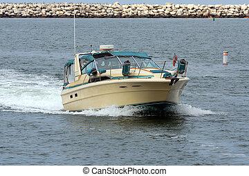 Motorboat entering Harbor Channel - motorboat cruising...