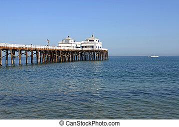 Malibu Pier - famous Malibu Pier on sunny, cloudless day