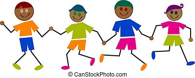 ethnic kids - group of happy ethnic boys holding hands -...