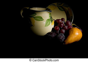 Jug and Fruit - Grapes, Buerre Bosc Pear and Grapes with Jug...
