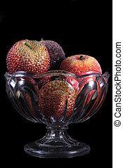 Decorative Apples In An Antique Crystal Bowl - Artificial...