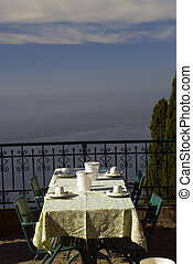 dining tabe sicily - table for dining over the sea taormina...