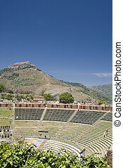 ancient theater taormina - the greek-roman theater in...