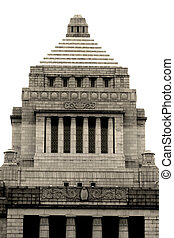 Japanese Parlament building on white colored background
