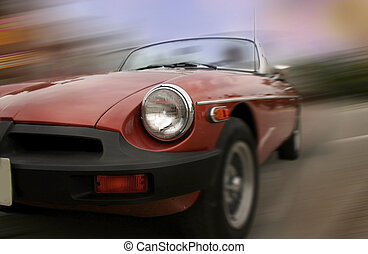 Fast Moving Car - Old sports car in fast motion concept