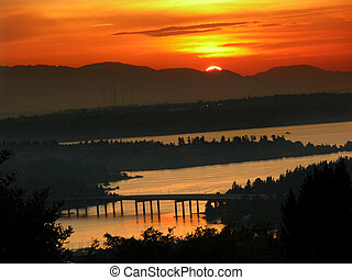 Sunset Lake Washington - Sunset Over Lake Washington,...