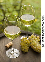 wine - white wine in glass outside close up shoot