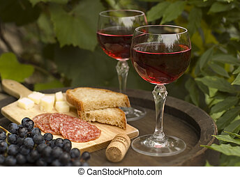 wine - glass of red wine with snack close up