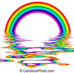 Rainbow - illustration of a rainbow with rippled reflection...