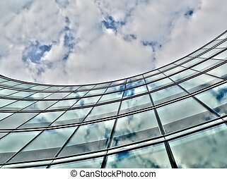 Curvy glass building in Warsaw Poland
