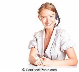 girl the operator in headphones with a microphone