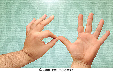 counting hands - hands counting with binary numbers on a...