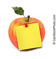 apple with yellow note - close-up of delicious apple with...