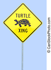 Turtle Crossing Sign - Photographed turtle crossing sign off...