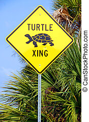 Turtle Crossing Sign - Photographed turtle crossing sign on...