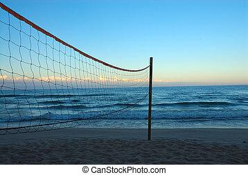 Lake Michigan USA - Volleyball net on the beach at Lake...