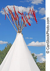 Native American Teepee - Native American teepee with red...