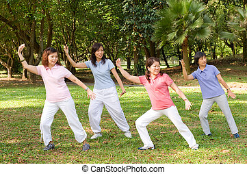 Outdoor Tai Chi - A group of asian ladies exercising in the...
