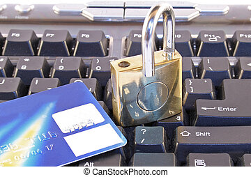 Online security - A computer keyboard and padlock signifying...