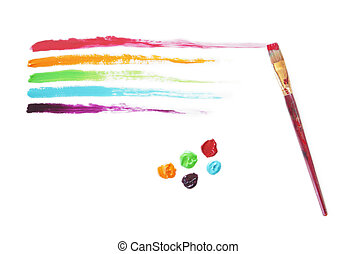 Rainbow Paint Strokes - Painted rainbow and the brush that...