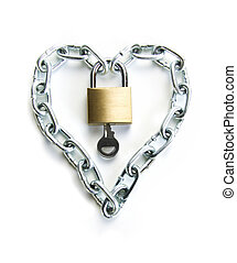 The Key to my Heart - A Padlocked Chain Shaped Lock a Heart...