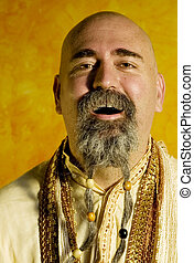 Funny Guru - Funny bald guru with a long beaded beard.