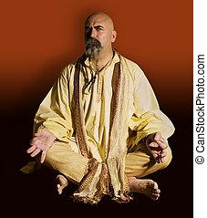 Suspicious Guru - Suspicious guru scowls at the camera.