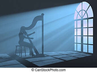 Harp - woman playing harp in a colorful light
