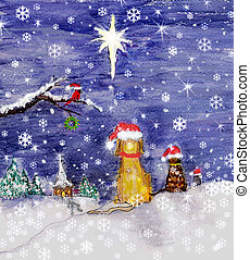 STAR - a design I painted for our Christmas cards one year,...