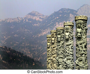 Mt. Tai, Shandong China - Dragons in front of Mount Tai,...