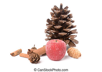 Pine Cone and sugared Fruit - Pine Cone with white...