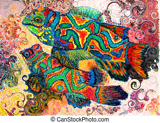 Mandarin Fish Art - A drawing of mine created in colored...