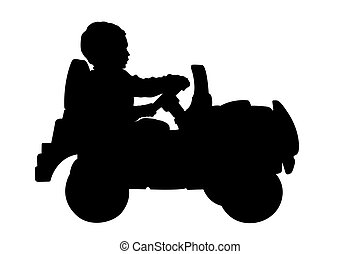child driving a car silhouette with clipping path