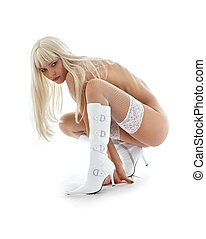 white temptation - tanned blond in white boots and fishnet...