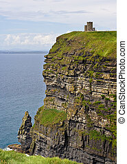 OBriens Tower on top of The Cliffs of Moher in County Clare,...