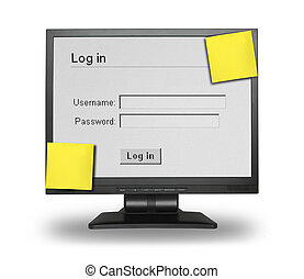 Log in screen - LCD display with Log in screen and two blank...