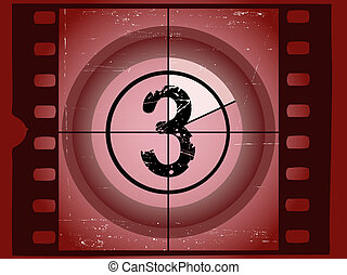 Old Red Scratched Film Countdown - At 3