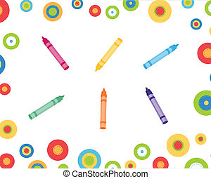 Crayons and circles - Colorful circles and crayons...