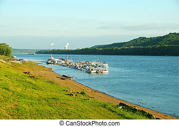 Yacht Club on the Ohio River between Ohio and Kentucky, USA...