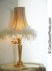 desk lamp - Lamp shade with feathers of a desk lamp
