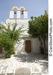 greek island street scene old church