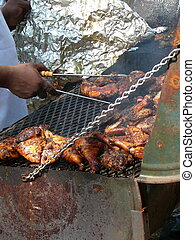 Jerk Chicken - Traditional Jamaican Jerk Chicken Prepared on...