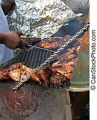 Jerk Chicken - Traditional Jamaican Jerk Chicken Prepared on...