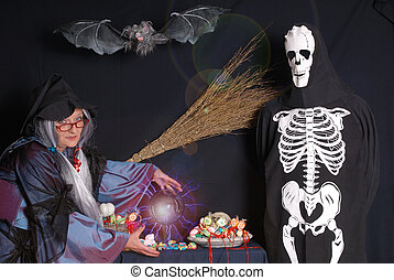 Trick or treat, halloween - Halloween witch and skeleton...